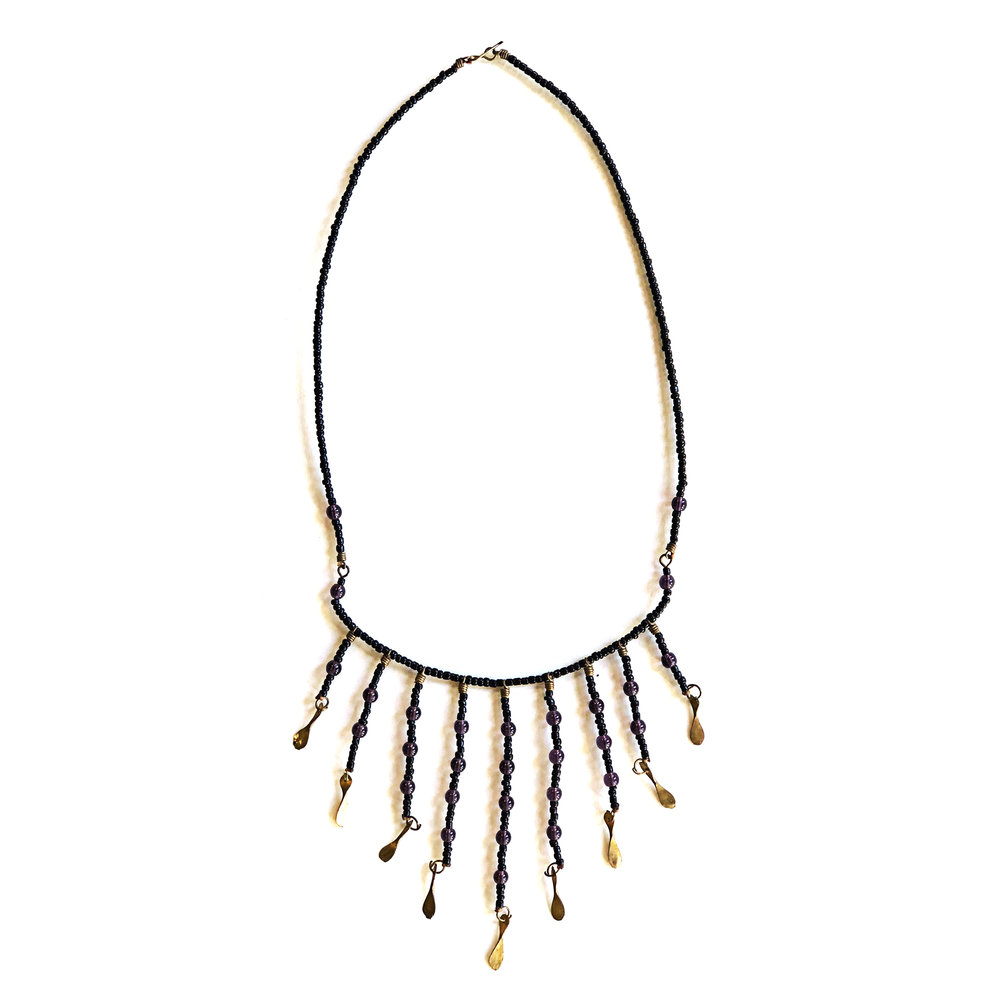 Recycled Brass Fringe Necklace - Purple | $24