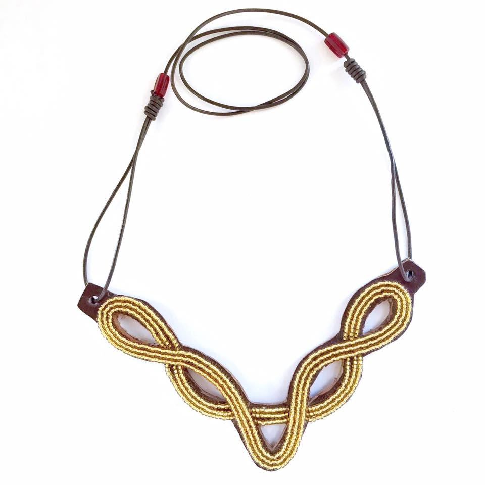 Gold Leather Bib Necklace | $32