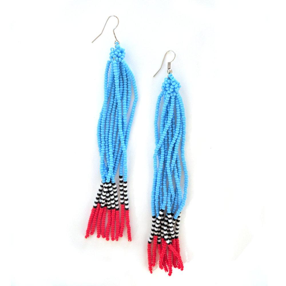 Bead Tassel Earrings - Light Blue | $24