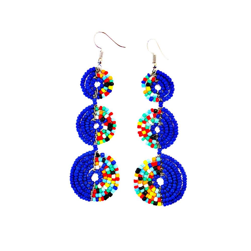 Maasai Tier Earrings - Blue Multi | $24