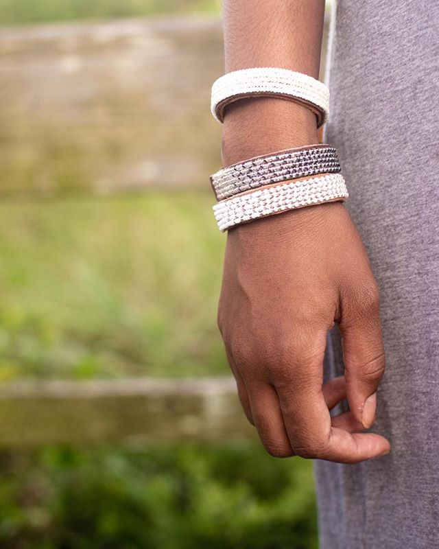 We are smitten over this layered look! Stack your favorite Beaded Leather Cuffs for a look that's all your own.