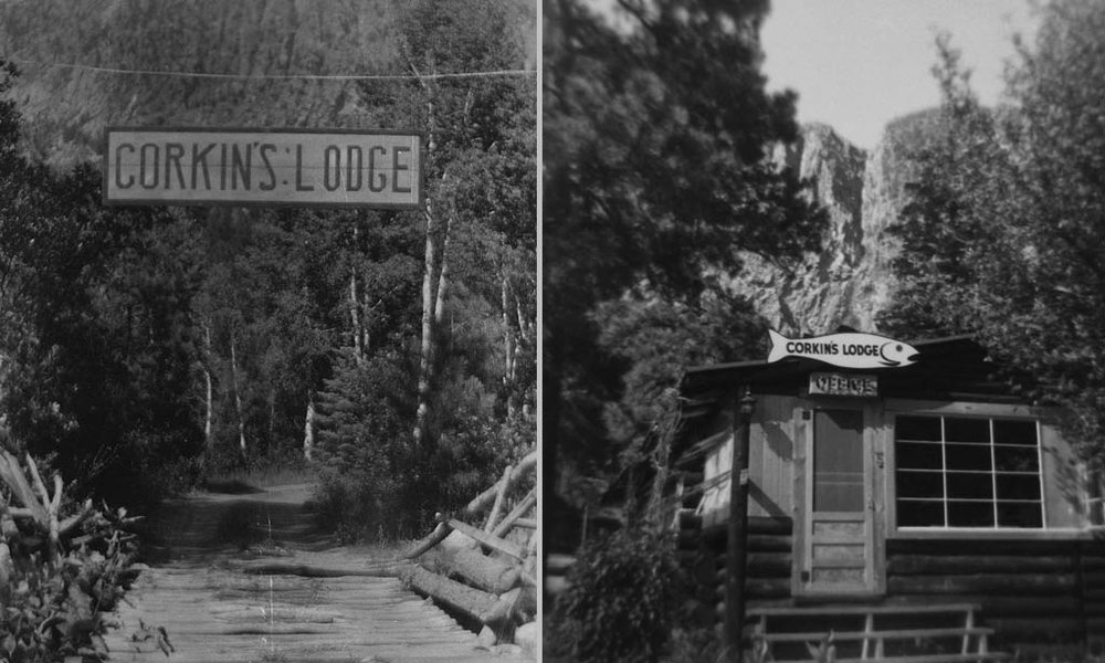 "The Corkins Lodge property was thus originally purchased as a private fishing camp by this adventurous group. They would drive up from Albuquerque in Model-T cars on rutted dirt roads for the pleasure of fishing with their friends at ""the end of the road"" and the beginning of the rough wilderness of the Brazos River Canyon."