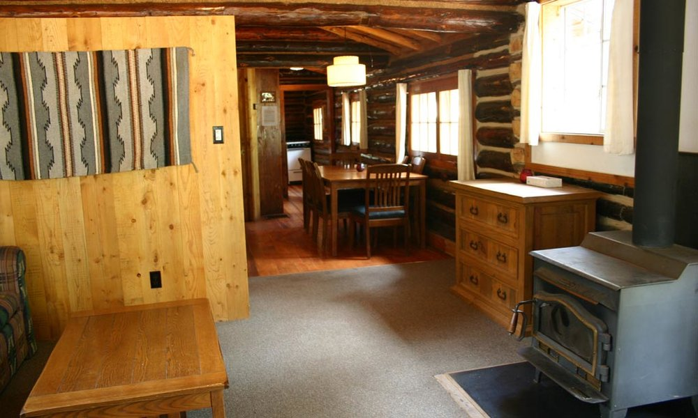 Looking into the interior, past the wood stove and into the dining area and kitchen.