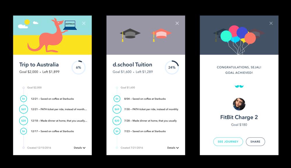 Timeline, Goal, & Illustrations for Stash App (Interaction + Visual Design)