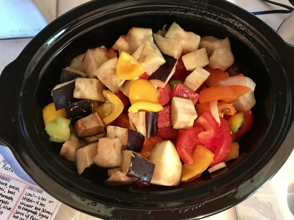 Veggies soften as they cook, flavors melding into a wonderful stew
