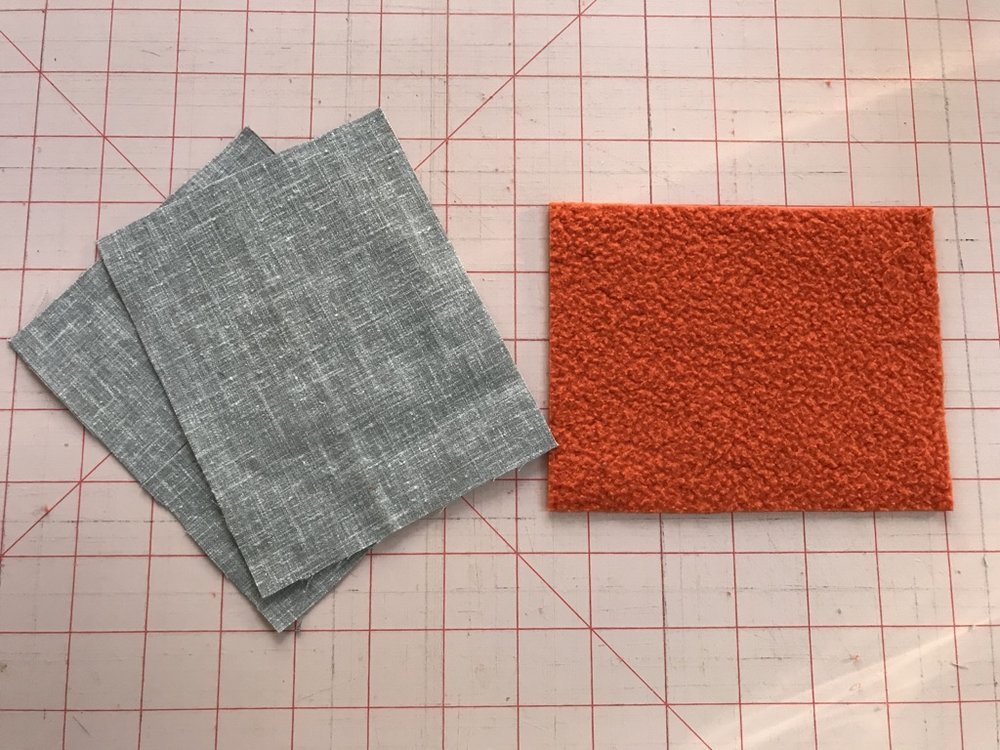 Cut 2 rectangles from fabric , 1 from sweatshirt jersey