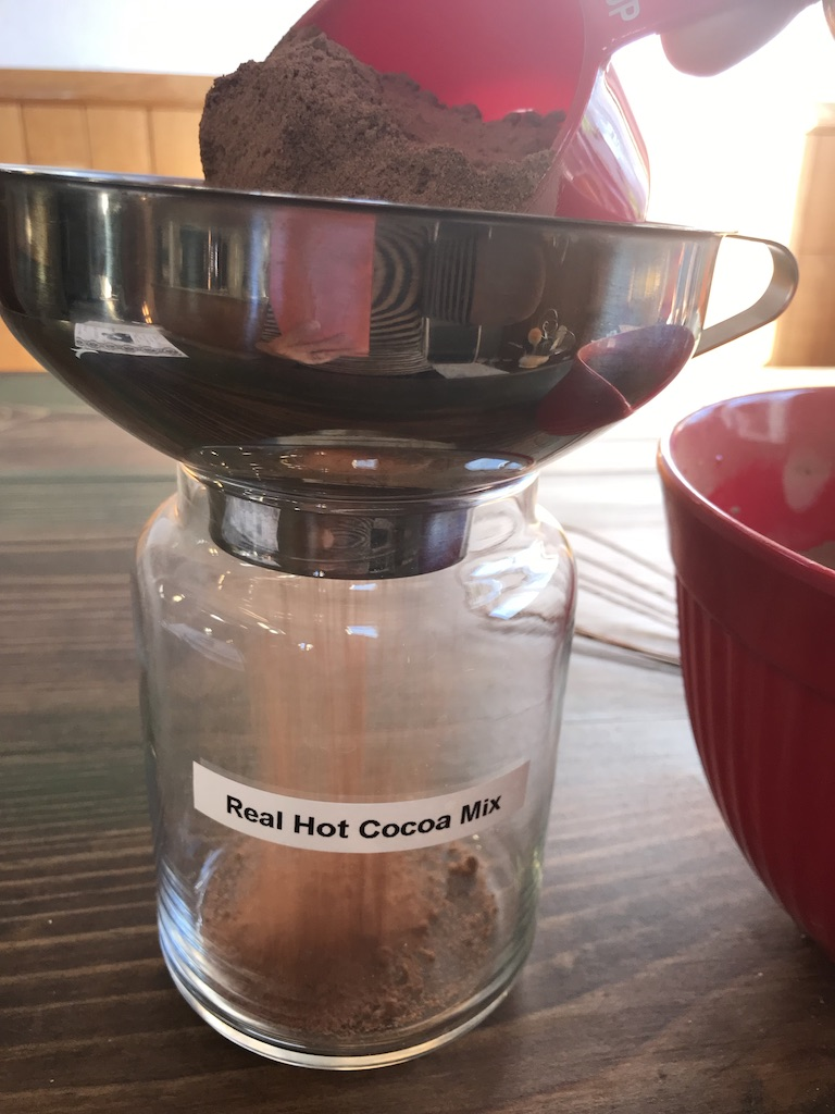 Scoop mix into clean jar; a funnel helps