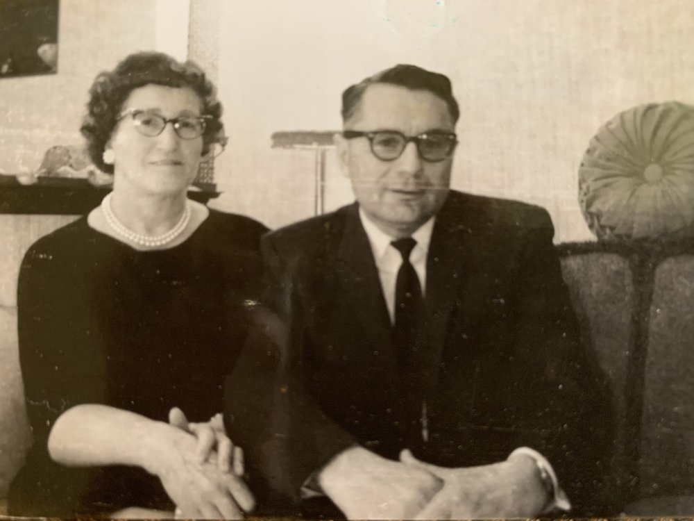 My grandparents, Emma and John Blumhardt, in their farmhouse parlor in the early 1960's