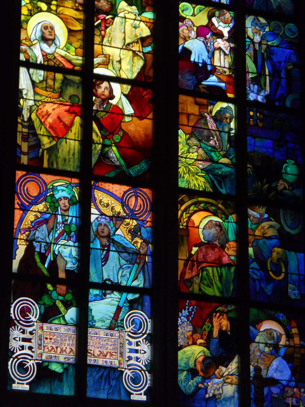 Mucha Stained Glass, St. Vitus Cathedral, Prague, Czech Republic