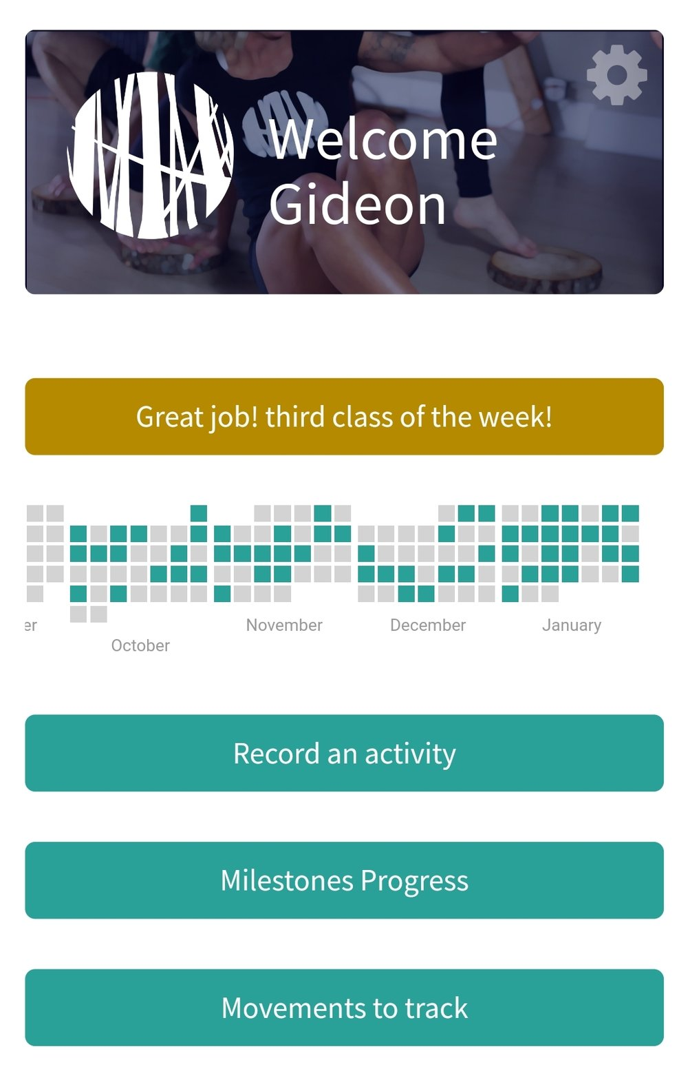 The app front page shows a calender of class attendance and offers ways to record or review your work