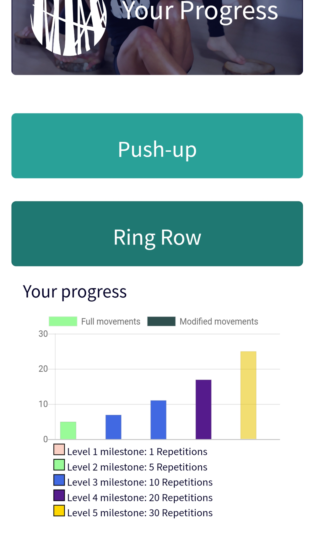 Get at-a-glance information on your progress by seeing graphed versions of your work outs, with colour bands representing milestone levels.
