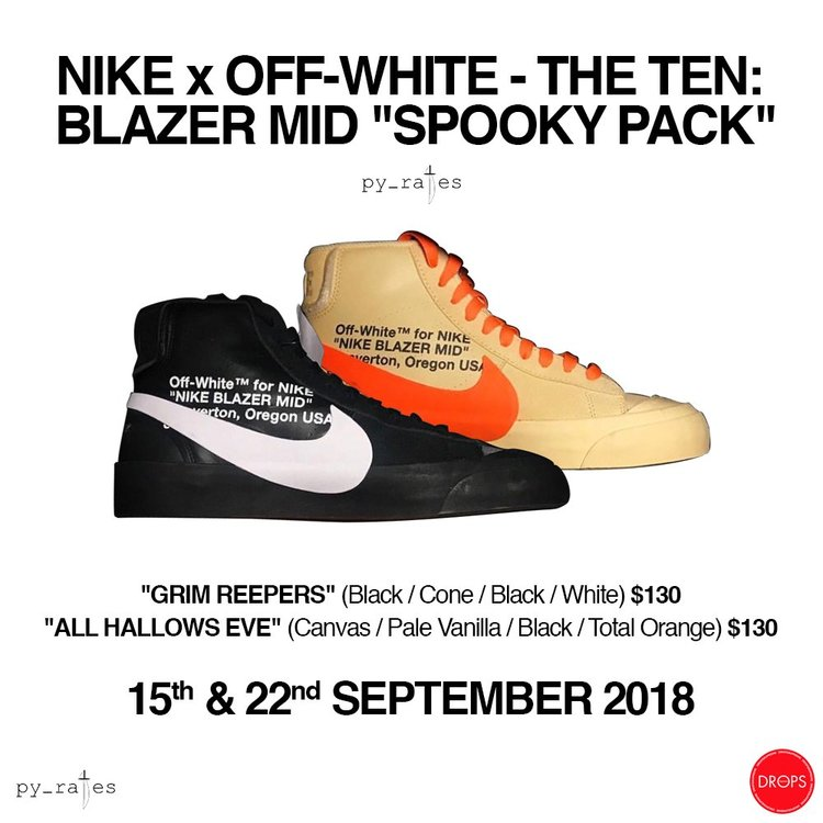 """86d349084f98 OFF-WHITE X NIKE BLAZER MID """"SPOOKY"""" PACK — iLL Sneakers"""