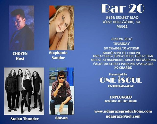 Gonna slow it down a bit for an acoustic show at Bar 20 on Sunset next Thursday with some pretty cool musicians!  #livemusic #bar20 #sunsetstrip #acousticmusic #femalesingers #lamusicscene #sunsetstripmusicfestival #stolenthundermusic #westhollywood #westhollywoodmusic #onemoresoulentertainment #unplugged