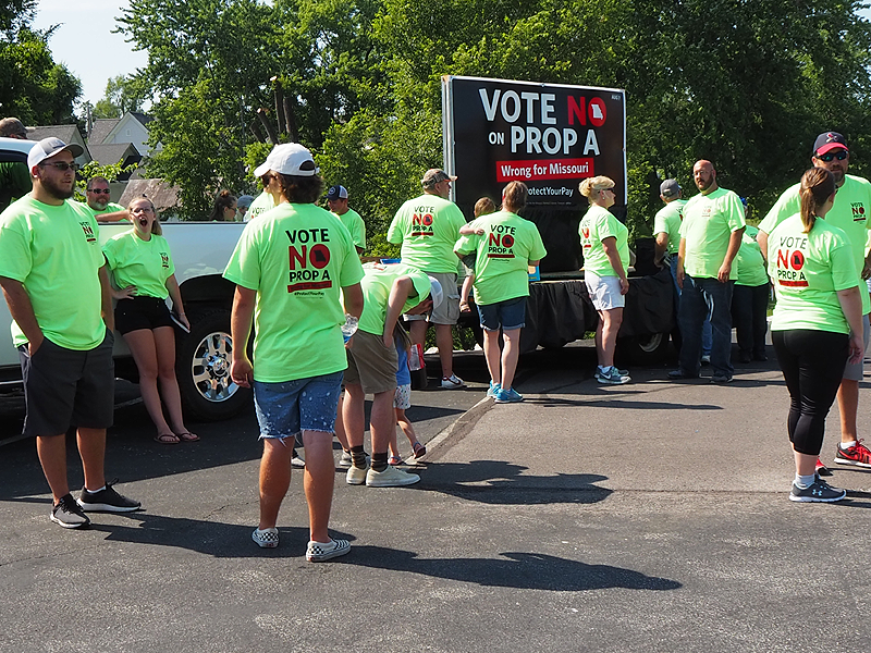 Our union folks were there working on their float, and encourage voters to vote NO on Prop A.