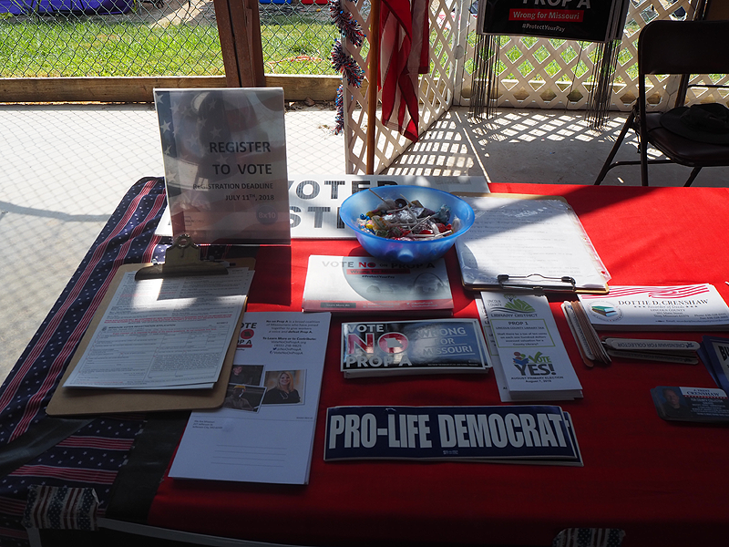 We registered voters and had promotional materials and bumpersticks.