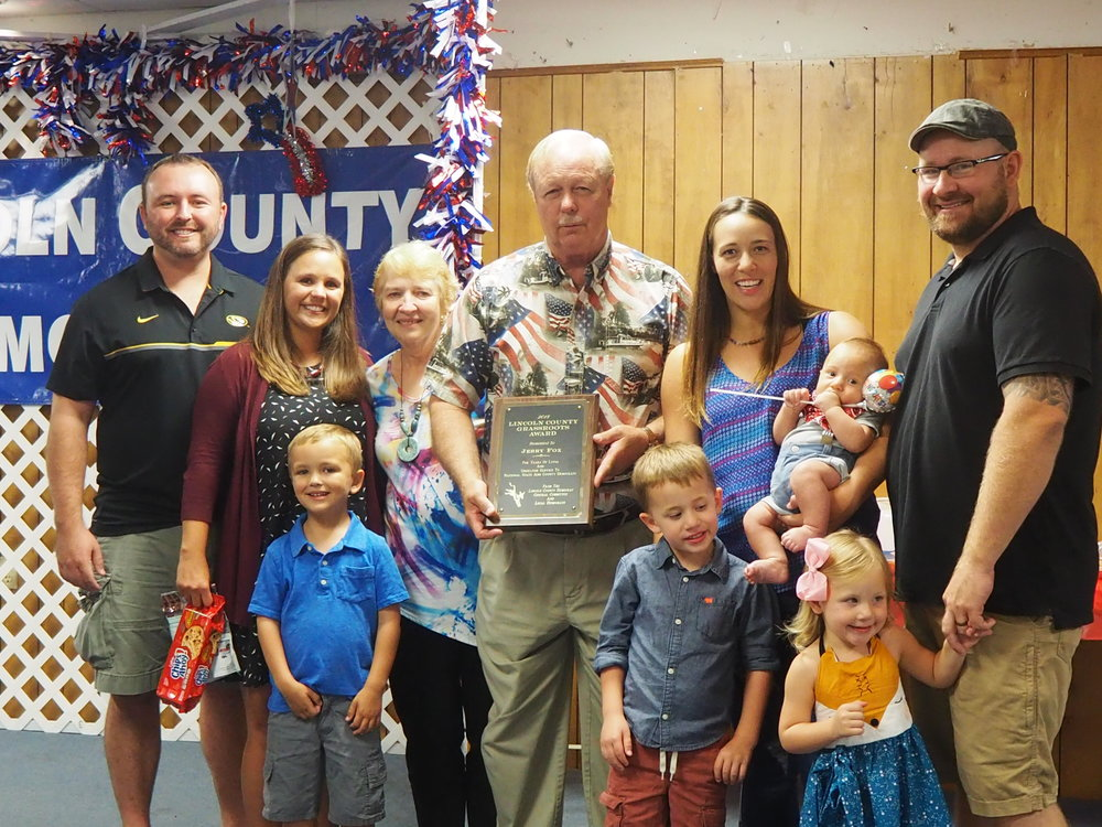 …..Jerry Fox, honored for his many years of hard work for the club and his years of dedication to Lincoln County, as evidenced by his decades of service as Lincoln County Collector of Revenue. Look at that beautiful family!