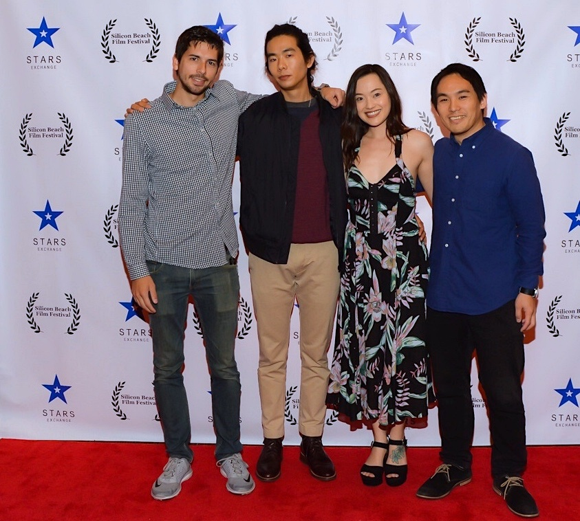 "Cinematographer Dustin Leboeuf, director Adam Jay Ung, Trisha Molina, and composer Taisuke Kimura at the Silicon Beach Film Festival screening of ""The Spirit Room""; April 28, 2018 Los Angeles, CA"