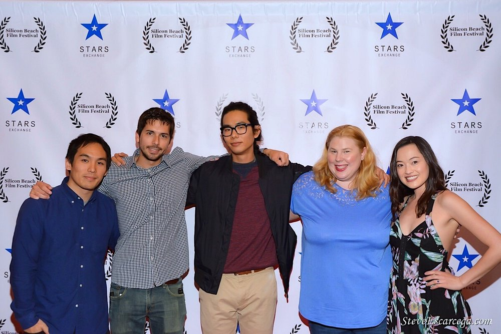 "Composer Taisuke Kimura, cinematographer Dustin Leboeuf, director Adam Jay Ung, actress Kristin West, and Trisha Molina at the Silicon Beach Film Festival screening of ""The Spirit Room""; April 28, 2018 Los Angeles, CA"
