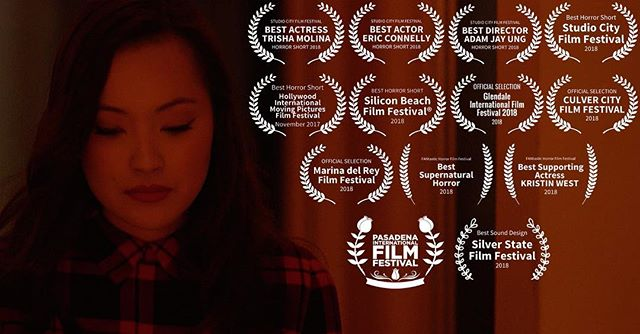 """I'm happy to announce that my short film """"The Spirit Room"""" is heading to one last festival! Come join us at the Pasadena International Film Festival on March 16th at 1:50pm during Block 10! It was humbling trying to shove all of these laurels into one image and I am genuinely grateful for the support that our little film that could has received. Hope to see you all there! 🥰 . . . . . #pasadenainternationalfilmfestival #filmfestival #shortfilm #film #actor #actress #actorslife #piff #thespiritroomfilm #offficalselection"""