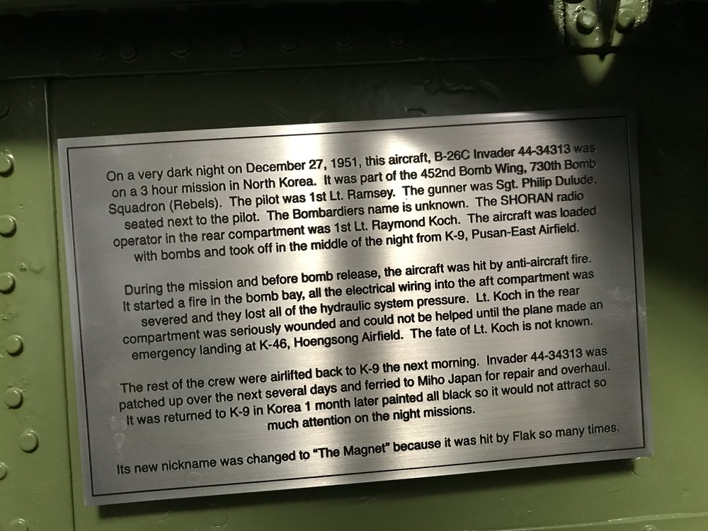 This is the plaque we had made to honor Lt. Koch and installed on the bulkhead next to where he was wounded.