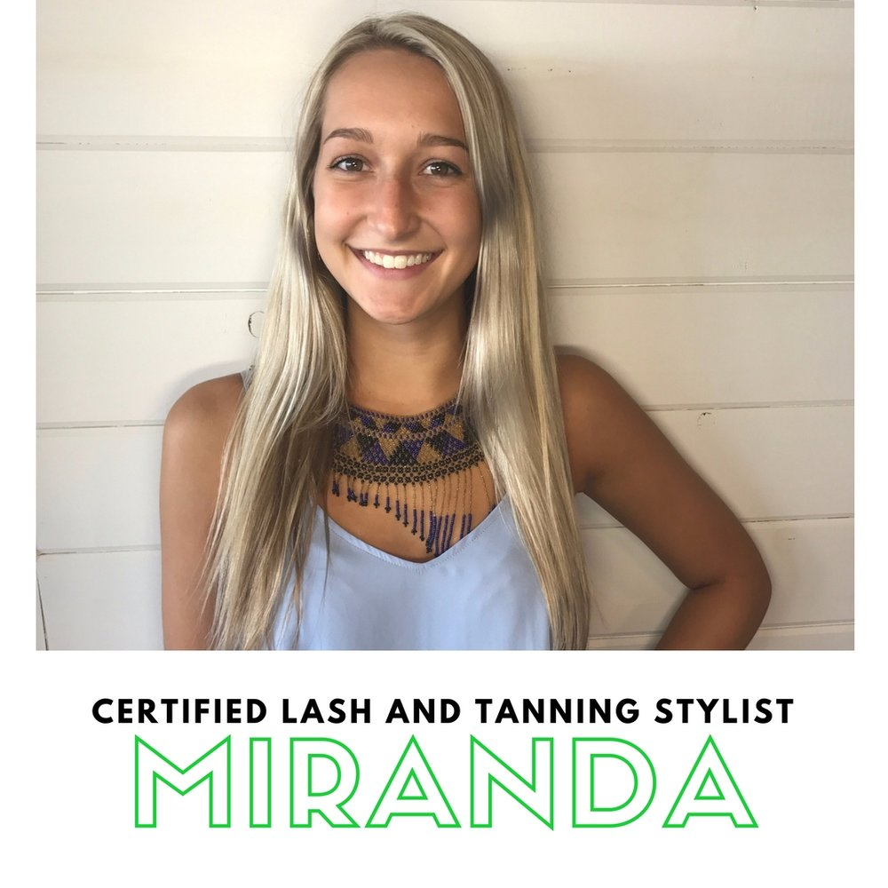 Miranda's passion is in the beauty industry. She is a licensed cosmetologist and certified lash stylist. She loves to see people look and feel their best. She's a good listener and a great person to vent to during your appointment. When she's not hooking you up with an awesome pair of lashes you can find her outside kayaking and hanging with friends and family.