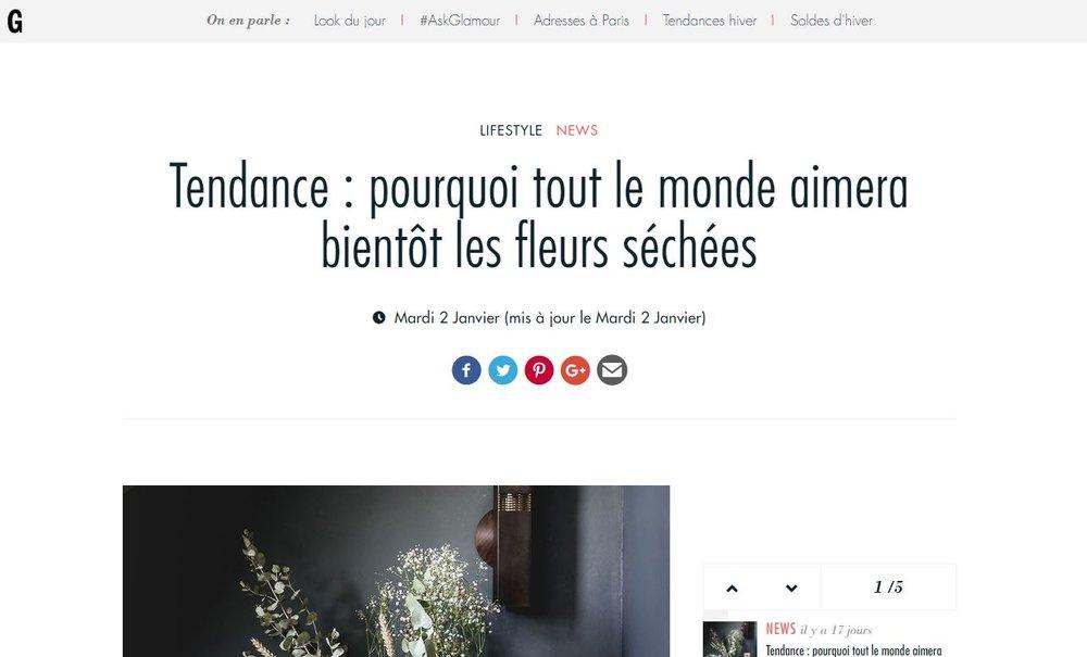Glamour.com - Janvier 2018 -  Tendance : pourquoi tout le monde aimera bientôt les fleurs séchées ?    Article àretrouver sur  glamourparis.com