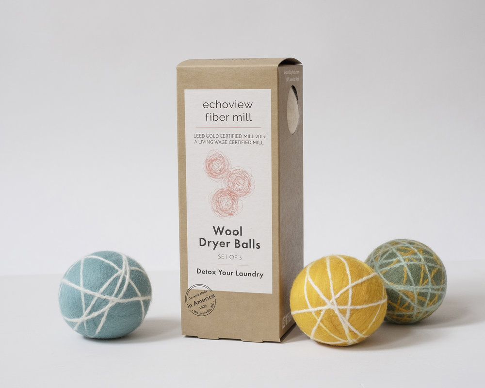 Our 100%  Wool Dryer Balls  are handmade and available in solid white or in playful colors.
