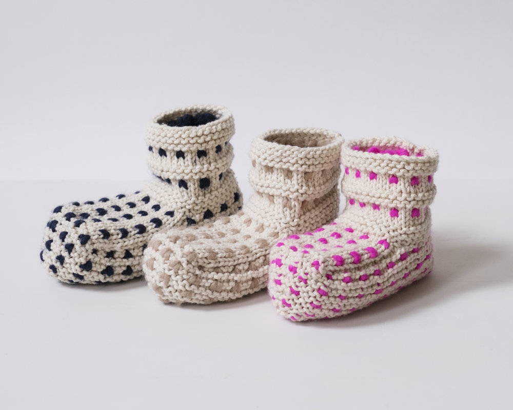 The  Cloud Slipper Knit Kit  uses a thrumming technique so that you'll feet feel like they are in a warm cloud.