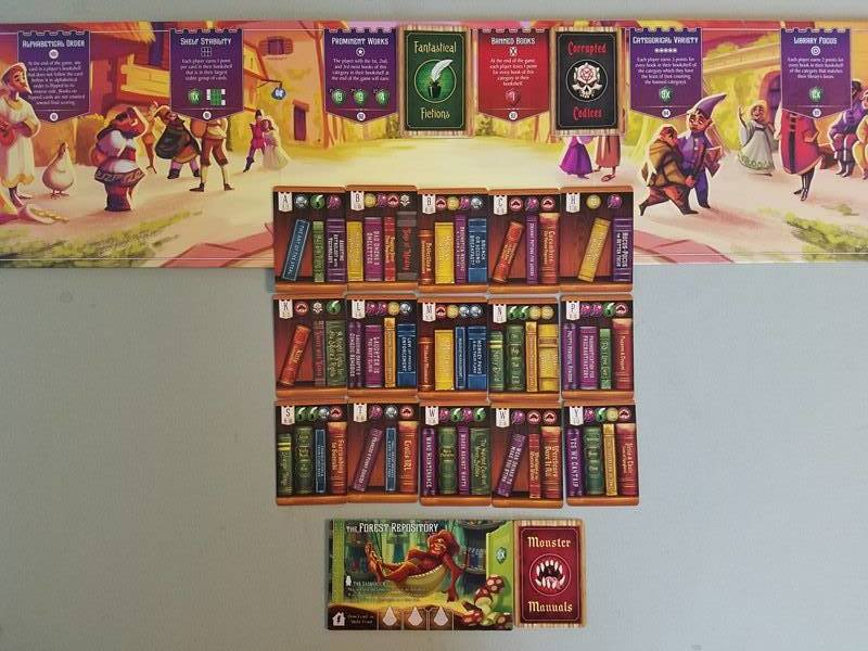 This shelf stabilty would score 15 points! 5 books per row x 3 rows. He has 10 Prominent Work cards and earns first place = 15 points, 12 Focus icons for 24 points, 3 Banned Books for minus 3 points, 7 Reference Texts under Categorical Variety for 21 Points. His final score is 72! Note: This is not how a normal library would be set-up. This was staged to show how scoring works.