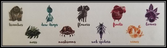The 9 spirits of the forest:  Branches, Moss, Dew Drops, Mushrooms, Flowers, Web Spiders, Fruits, Vines, and Leaves.