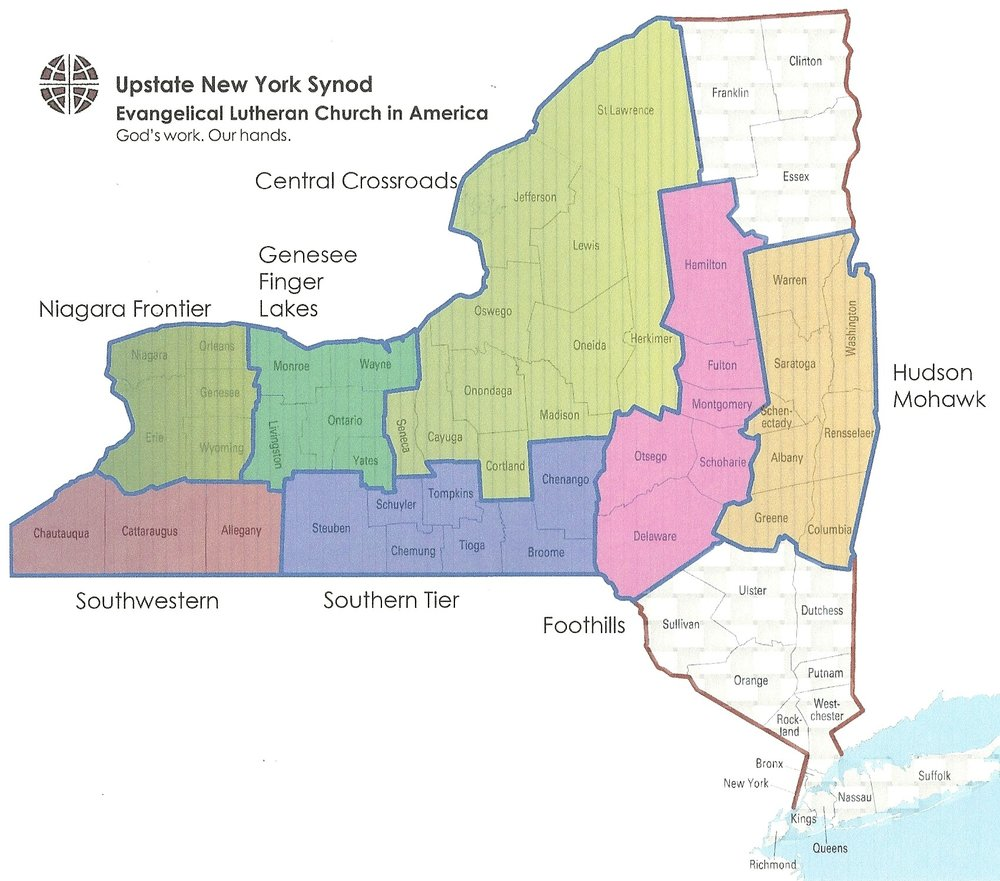 Map of the 7 Conferences of the Upstate New York Synod of the ELCA