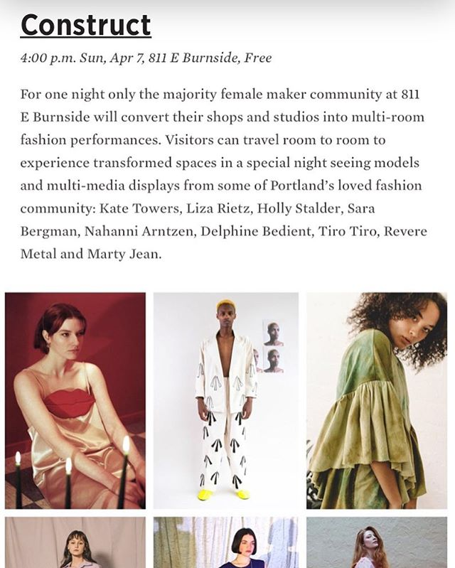 Thanks @edendawn and @pomomagazine for the nice write up for our upcoming fashion show for @designweekpdx !! This Sunday 4-5pm at the @811shops — so many great fashion installations and my shop @the_ones_shop and @hauntportland will be putting on a fashion show in the breezeway 🌪🌪🌪🌪🌪 designs by @hollystalder @lizarietz @sarabergmanapparel @_martyjean_ @tirotirostudio @reveremetal and more designers throughout the building! 💥