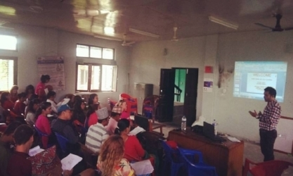 An audit of Rainaskot rebuilding is presented to the local community in Nepal.
