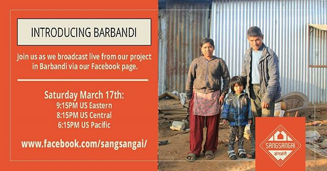 Join us for a live broadcast this weekend from Barbandi. Meet some villagers and see the progress on our community center.  Saturday evening US time. Just go to our Facebook page at the scheduled time to see us live!