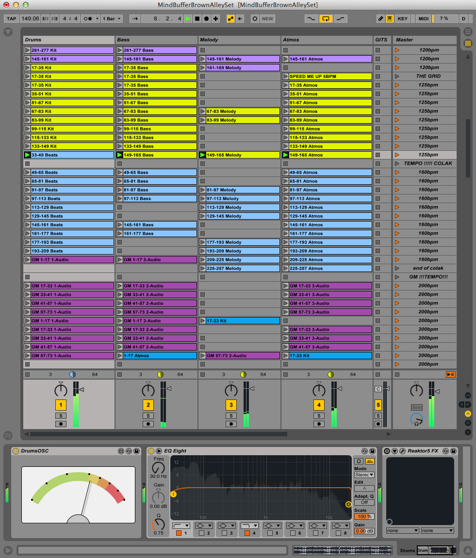 MindBuffer Ableton set showing each track divided into Drums, Bass, Melody and Atmosphere stems with a Max4Live device on each track on the bottom left