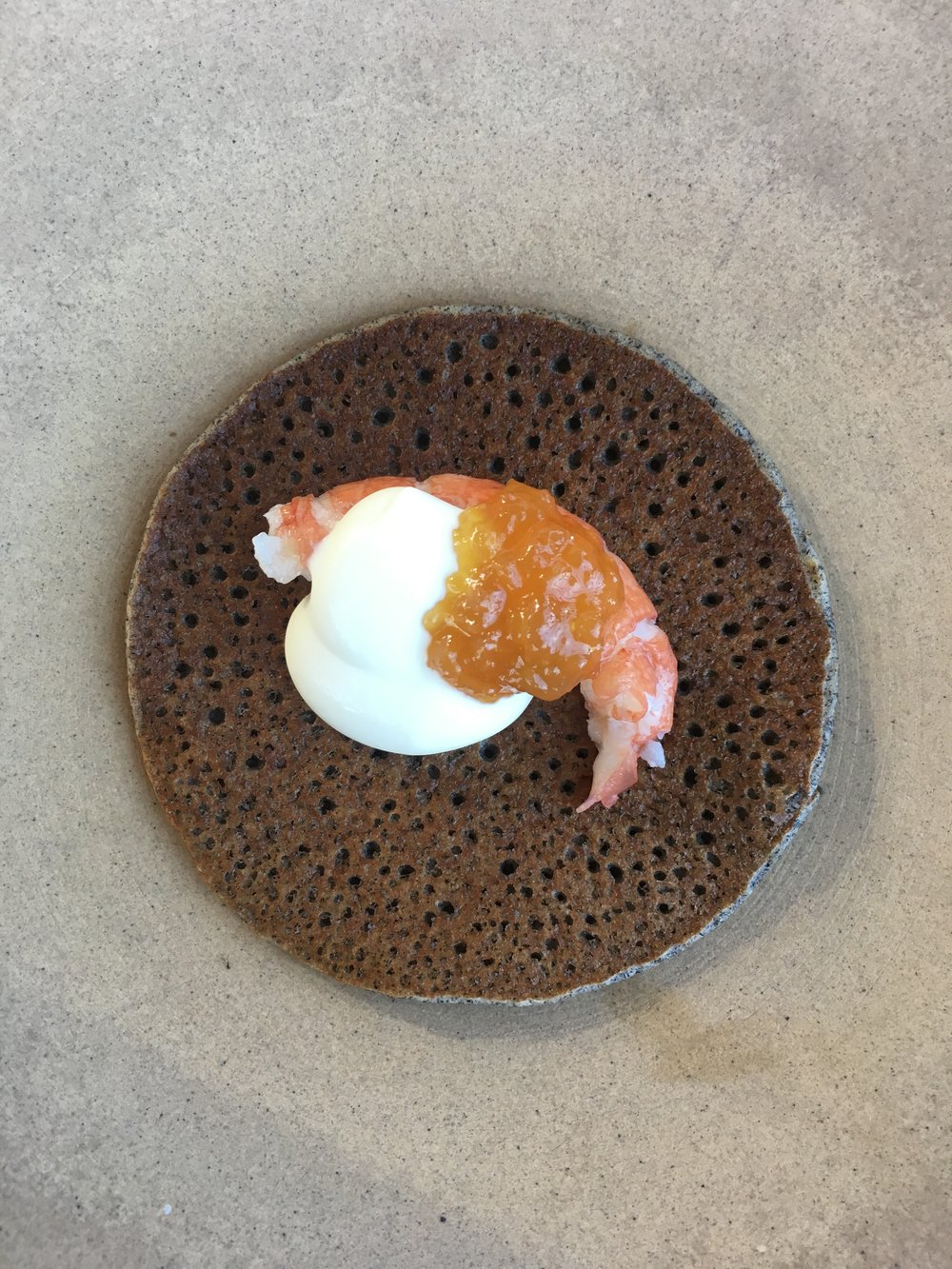 Yabby, buckwheat pancake, soured cream, lemon jam