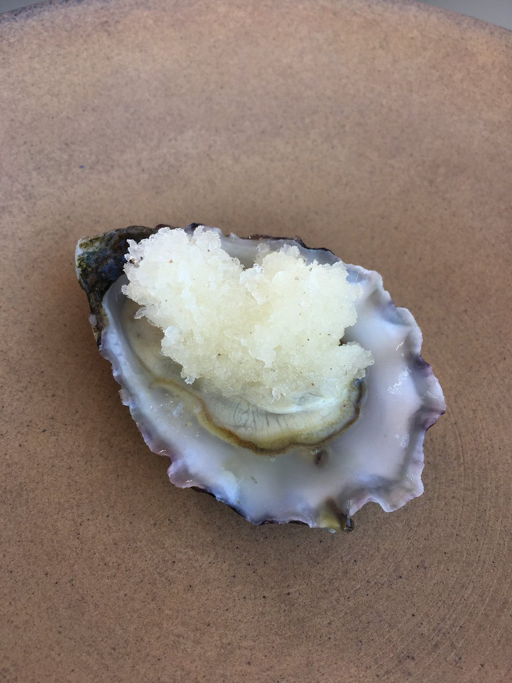 Oyster, lemon + pepper granita