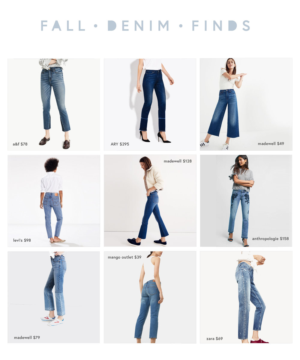 fall denim trends. how to wear cropped flare jeans, wide leg jeans, and strait leg jeans.