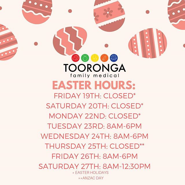 Happy Easter Everyone! Our opening hours for the following week are listed above. If you wish to book an appointment with us, feel free to head to our website and book online. We hope you have a wonderful Easter and a lovely break! 🐰🥕🍫