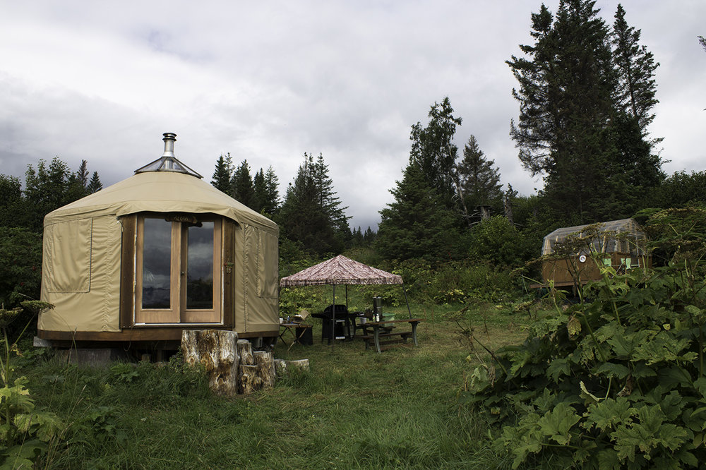 "The yurt on the left, the ""Lighthouse"" on the right"