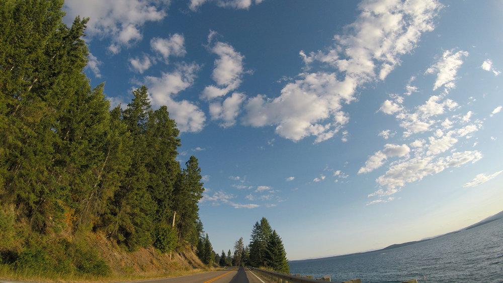 Driving along Flathead Lake