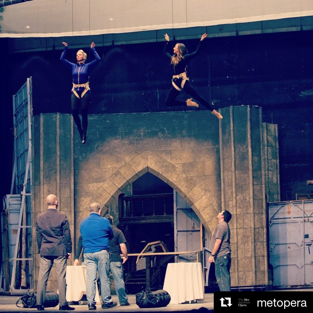 Flying Grisettes tech rehearsal for Susan Stroman's  The Merry Widow  at The Metropolitan Opera.