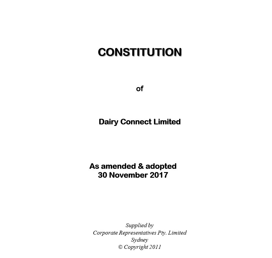 Click on the image above to download the latest copy of Dairy Connect's ammended constitution.