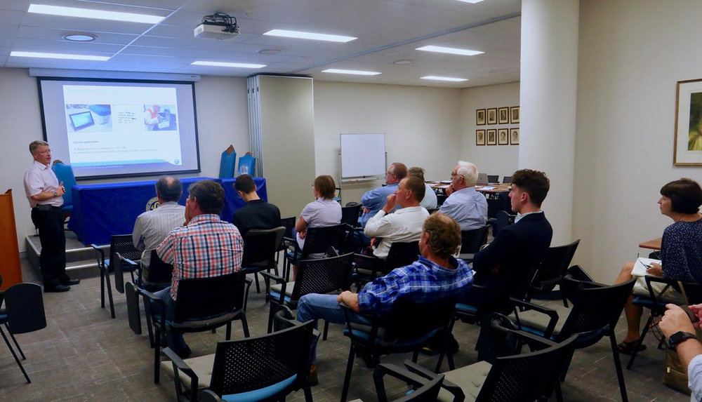 Dr Stephen Trowell of the CSRIO presenting his Cybertongue technology to the Dairy Connect Farmers' Group on December 1 2017.