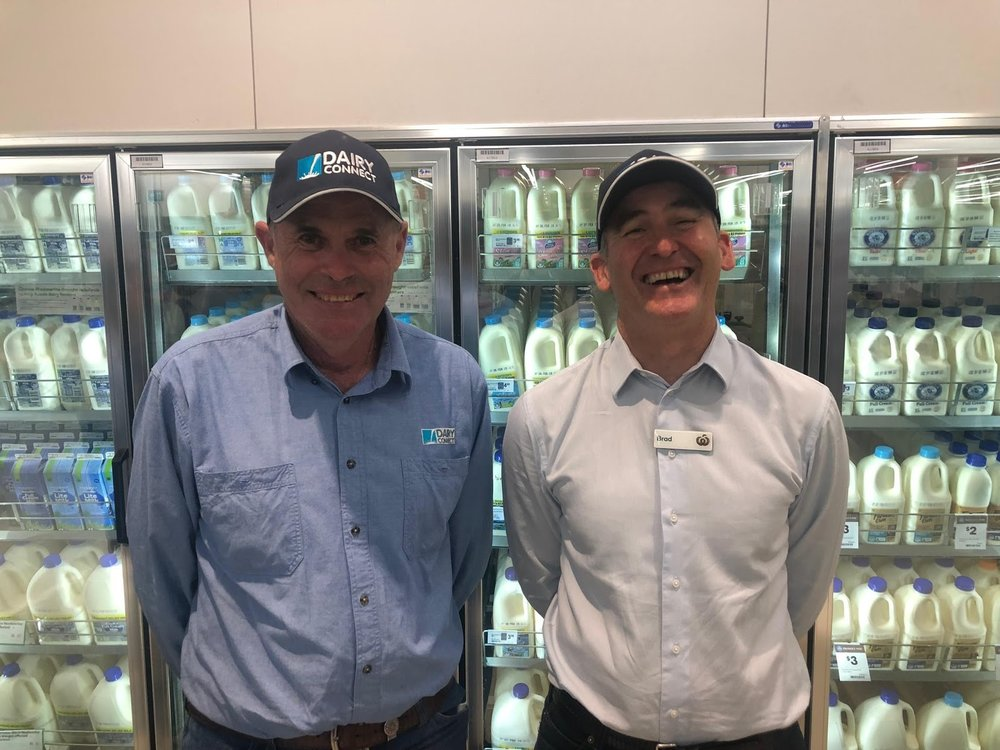L-R: Graham Forbes, DC Farmers Group President & dairy farmer, Gloucester; Brad Banducci, Woolworths CEO