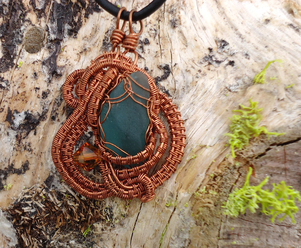 Copper Teal Glass Necklace