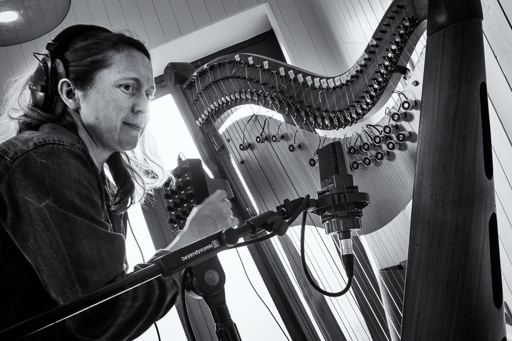 Emily with the totally unique Electromagnetic Harp