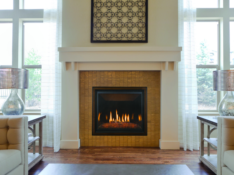 Bayport 36 Direct Vent Gas Fireplace - Direct vent gas fireplace that comes in either a log set or glass media set.