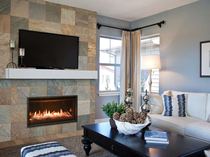 Slayton 36 Direct Vent Gas Fireplace - Linear contemporary fireplace with glass media set and optional rock media or driftwood set.