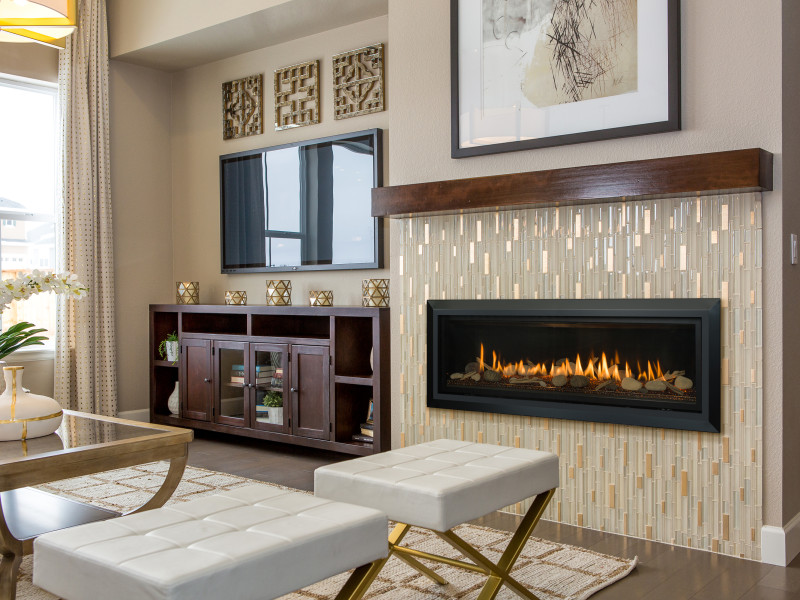 Slayton 60 Direct Vent Gas Fireplace - Linear contemporary fireplace with glass media set and optional media sets.